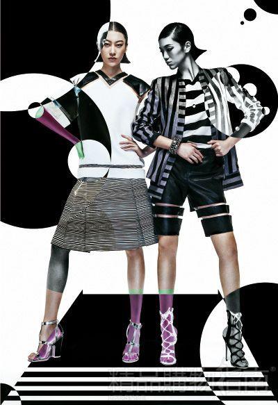 宽肩线,廓型袖笼,黑白几何色块的拼接元素,搭配超级细密的横条纹复古