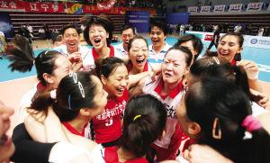 天津女排庆祝冠军