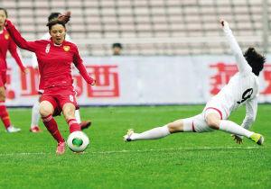 图为:中国女足在比赛中。来源:球迷报