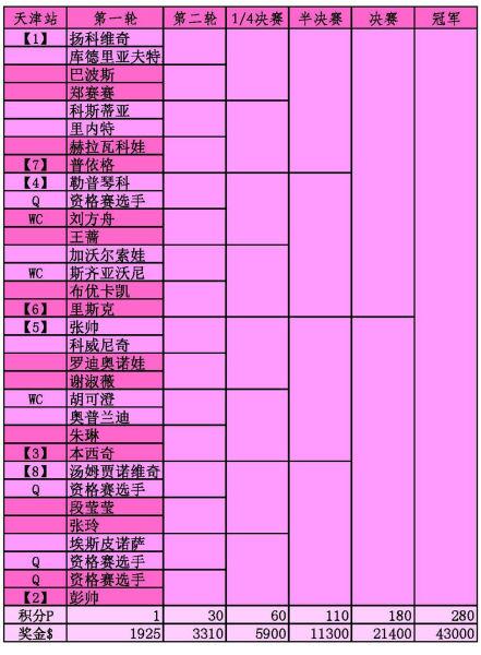 WTA天津站签表