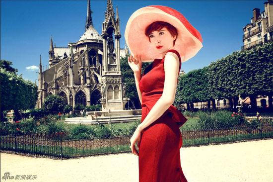 辣妈金巧巧巴黎艺术桥写真高贵身姿婀娜