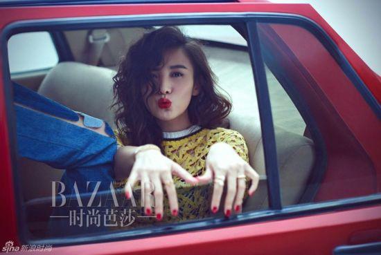 宋佳登《时尚芭莎》胡同大妞酷帅烈焰红唇