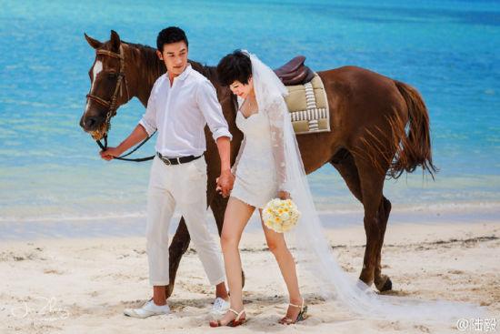 陆毅鲍蕾结婚纪念日晒唯美婚纱照