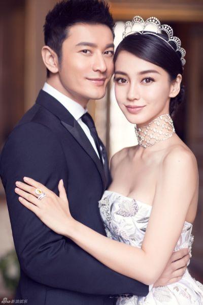 黄晓明Angelababy唯美婚纱照甜蜜拥吻