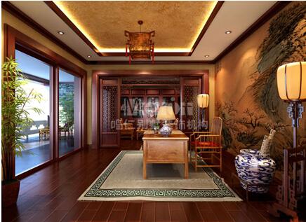 中式装修效果图,体现了中国传统室内装饰的气势
